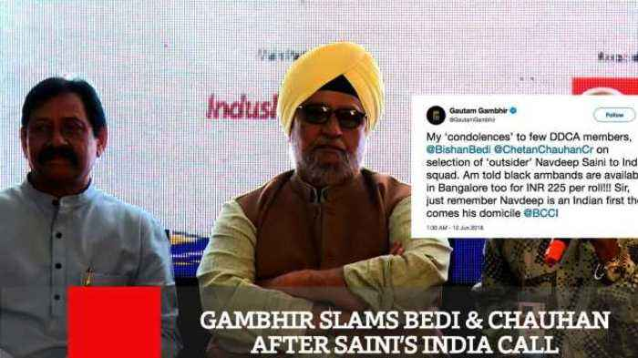 News video: Gambhir Slams Bedi & Chauhan After Saini's India Call