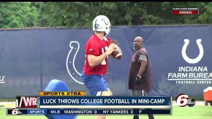 News video: Andrew Luck throws a football for the first time since October at Colts' minicap