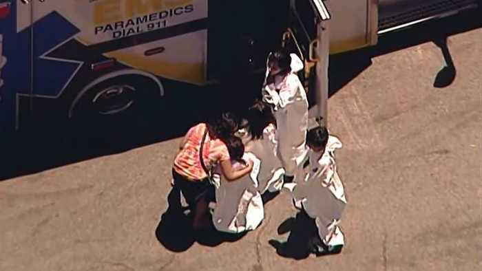 News video: RAW: Chopper 5 video from scene of hazmat situation at San Jose swim club