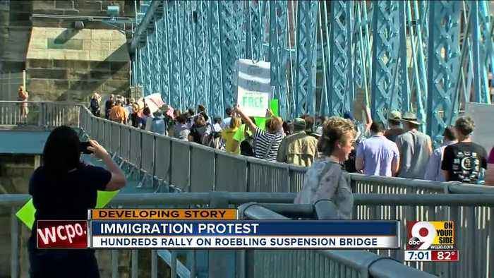 Immigration protest on Roebling Bridge