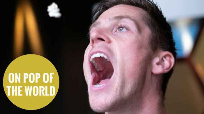 News video: Football freestyler claims record for kicking POPCORN into his mouth