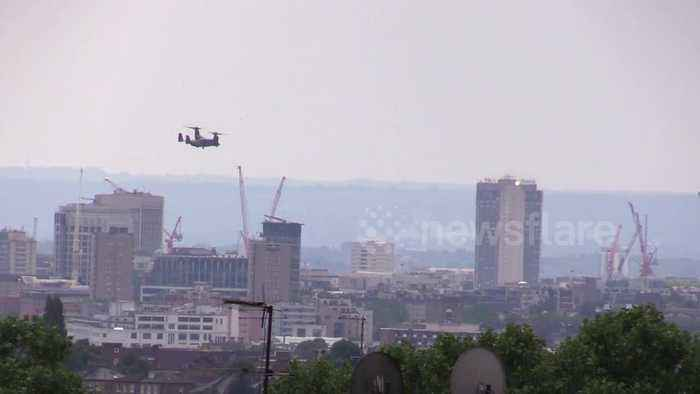 News video: Osprey aircraft fly over London in preparation for president Trump's UK visit