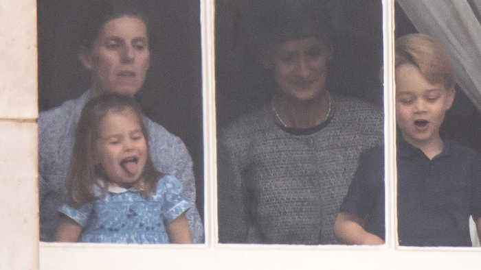 Princess Charlotte sticks tongue out watching RAF 100 flypast with excited Prince George