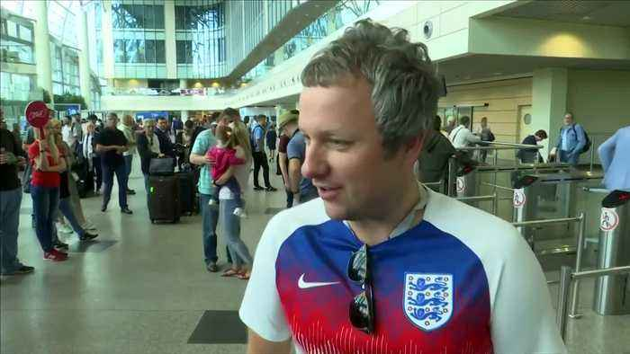 News video: England and Croatia fans arrive at Moscow airport ahead of semi final