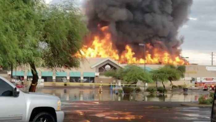 Roof Collapses as Flames Engulf Phoenix Safeway