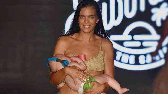 Sports Illustrated Swimsuit Model Breastfeeds on Runway