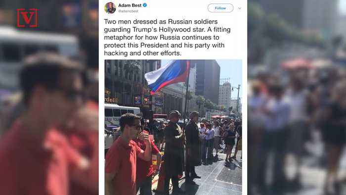 News video: Faux Russian Guards Stand Guard Over Destroyed Trump Walk of Fame Star: Report