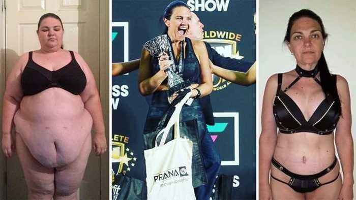 Obese wife warned she was on a 'fast track to early death' loses 14 stone and wins body transformation championship