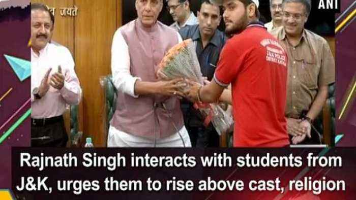 Rajnath Singh interacts with students from J&K, urges them to rise above cast, religion