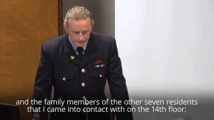 Firefighter gives emotional apology to family of Grenfell victims