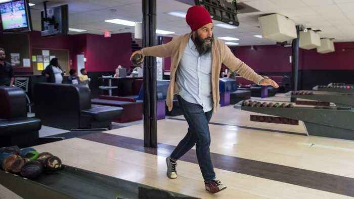 NDP Leader Jagmeet Singh takes his caucus bowling