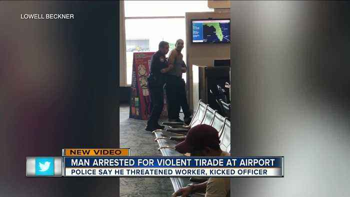 VIDEO: Unruly traveler arrested after making scene at TIA because of flight delay