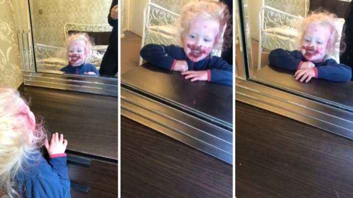 Mum stunned when daughter alone covers her whole face, hair and bed sheets in Mac lipstick while she does housework