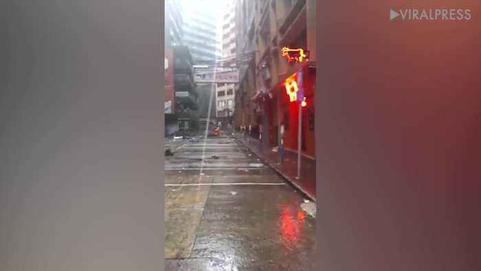 Typhoon Ompong Reaches Street In Hong Kong