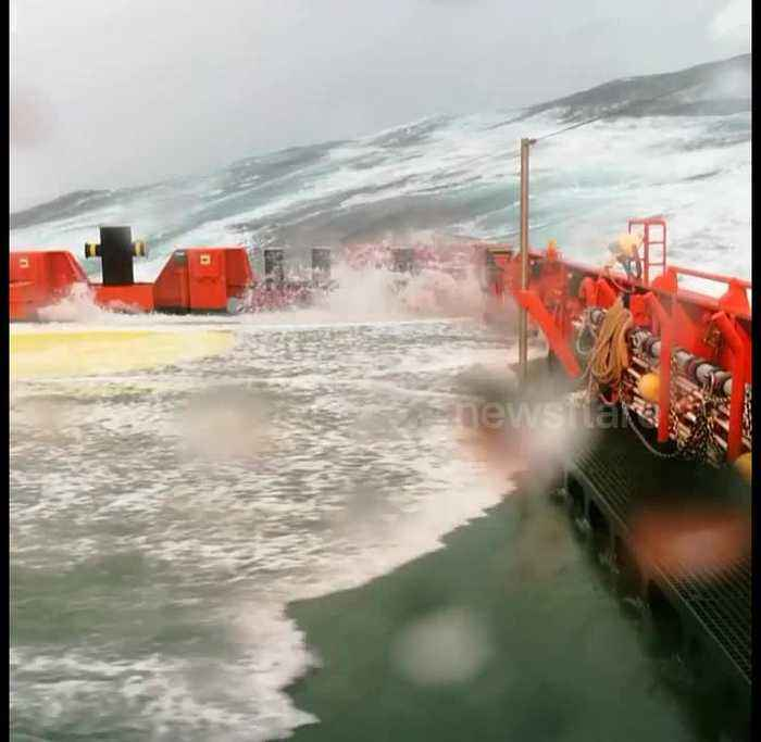 Storm Ali rages over North Sea, battering rescue boat