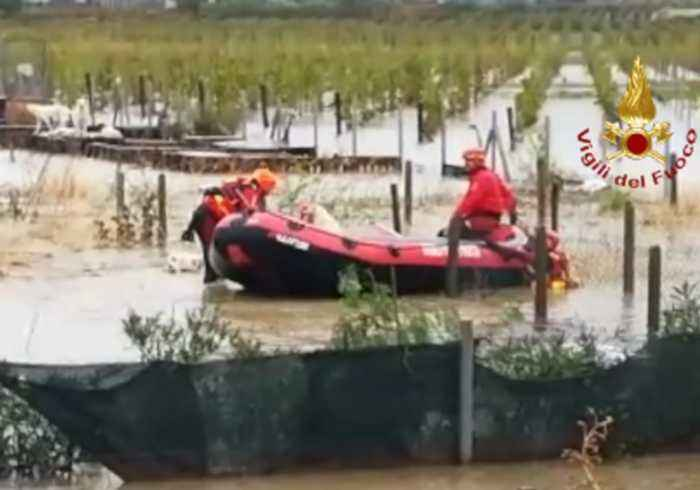 Firefighters Rescue Dogs From Kennels Amid Severe Flooding in Southern Italy