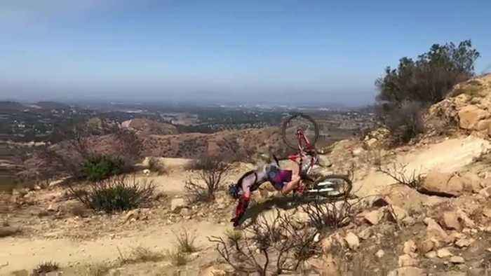 Mountain biker breaks collarbone after dramatic tumble