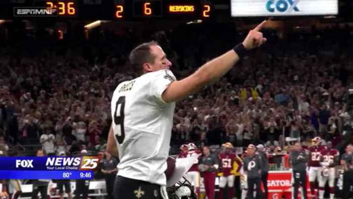 Drew Brees record setting football on display at Pro Football Hall of Fame