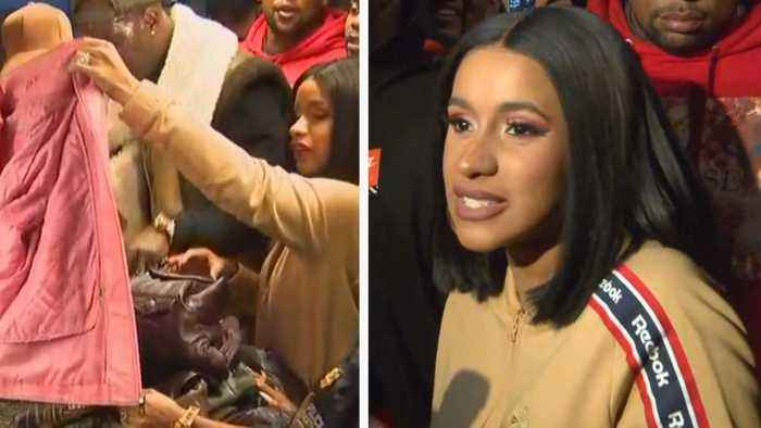 Cardi B Hands Out Free Winter Coats to Fans in Brooklyn