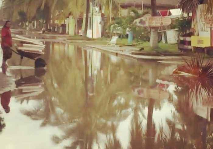 Hurricane Willa Leaves Road Flooded in San Blas, Mexico