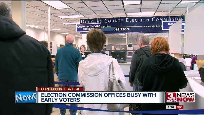 Early voters filing into election offices in Douglas, Sarpy counties