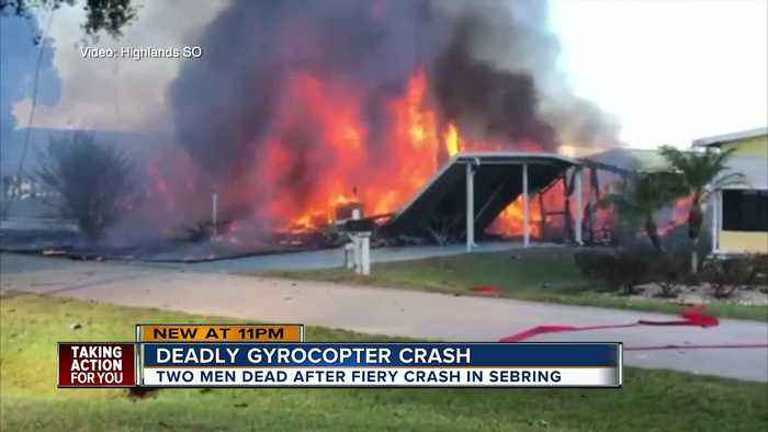 2 dead, 1 injured after gyrocopter crashes into mobile home park, setting homes on fire in Sebring