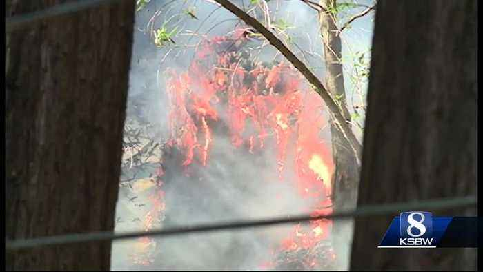 Fire danger in the Santa Cruz Mountains where high winds could kick up 2  fires