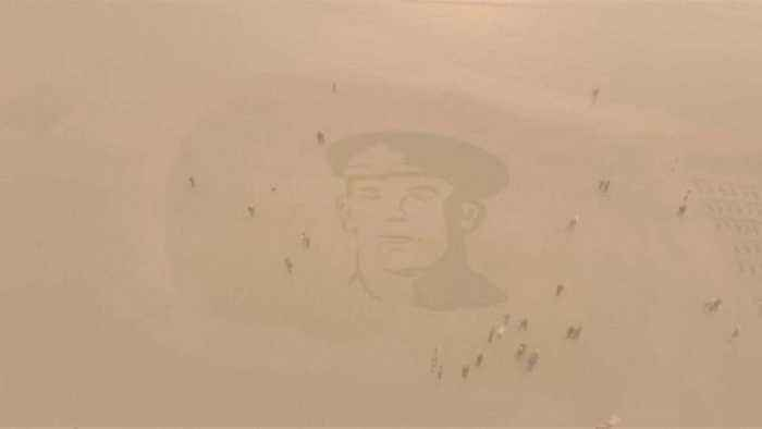 Portrait of World War One soldier engraved on UK beach