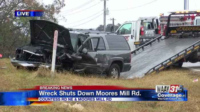 Wreck Shuts Down Moores Mill Road