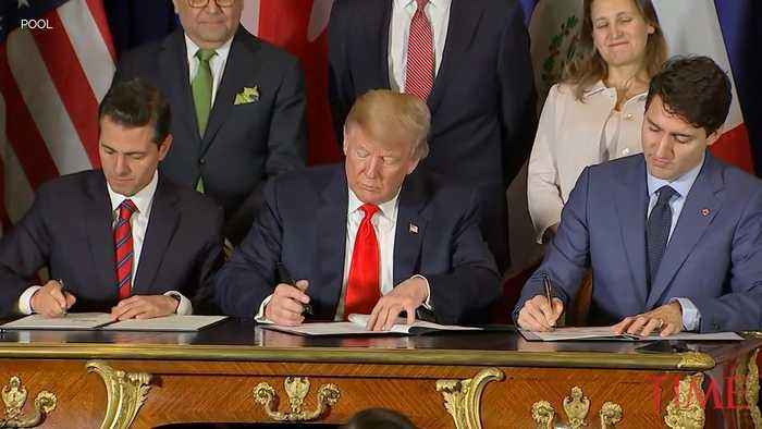 President Trump Signs New Trade Pact With Canadian Prime Minister Trudeau and Mexican President Pena Nieto