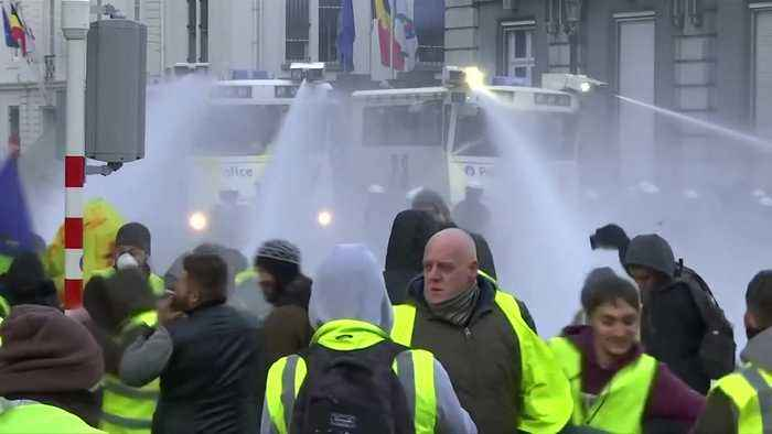 Brussels police fire water cannons at 'yellow vest' protesters