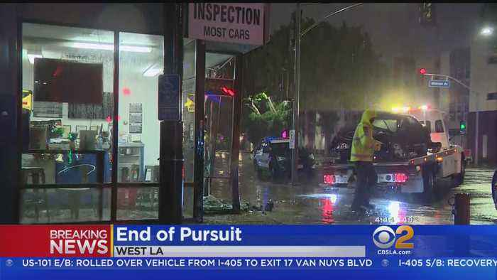 Pursuit Ends With Crash Into Store Near UCLA