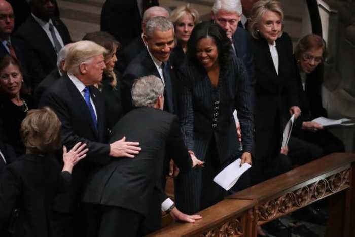 George W. Bush Gives Michelle Obama Candy at His Father's Funeral Service