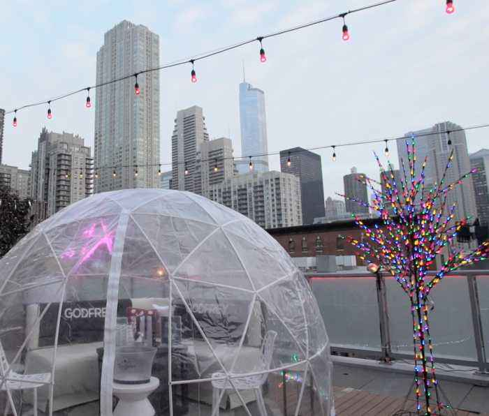 Drink in a giant snow globe at this Chicago rooftop