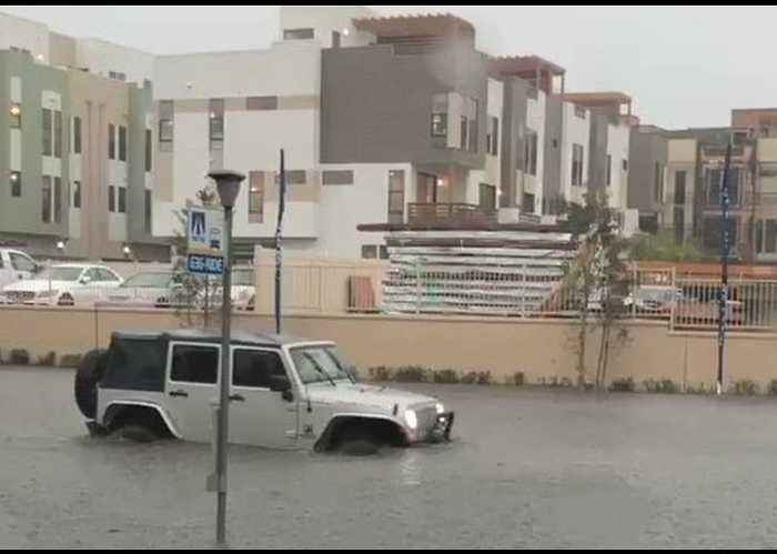 Flash Floods Swamp Cars in Costa Mesa, California
