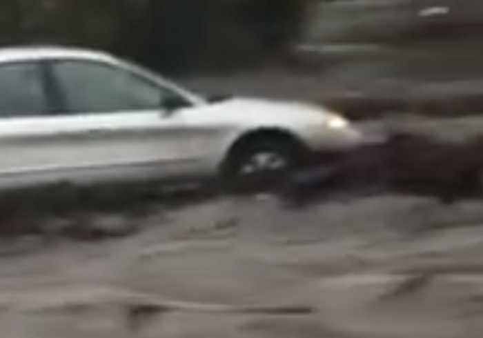 Floodwater Surges Down California's Temescal Valley Following Heavy Rainfall
