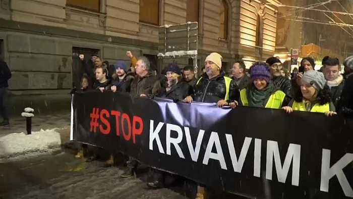 Protesters in Serbia denounce an alleged government crackdown on opposition parties