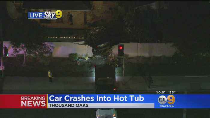 SUV Slams Into Wall, Stops On Top Of Hot Tub In Thousand Oaks