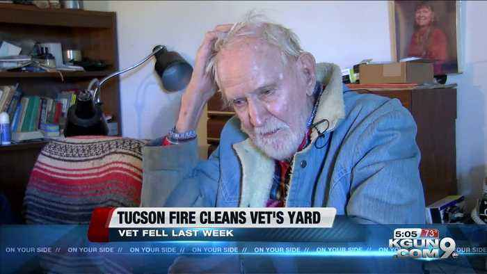 Tucson Firefighters Help Pearl Harbor Vet clean yard
