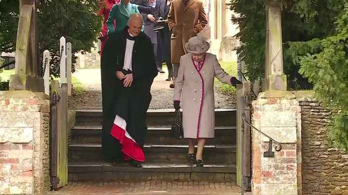 The queen and members of royal family attend Christmas Day church service