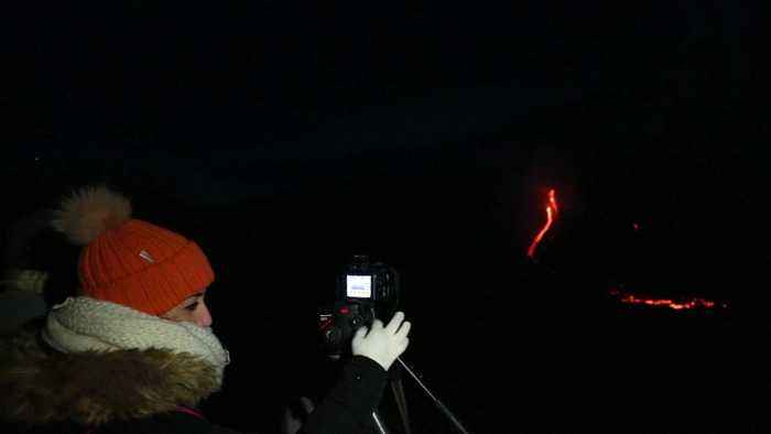 Spectacular eruptions from Mount Etna light up night sky on Christmas day
