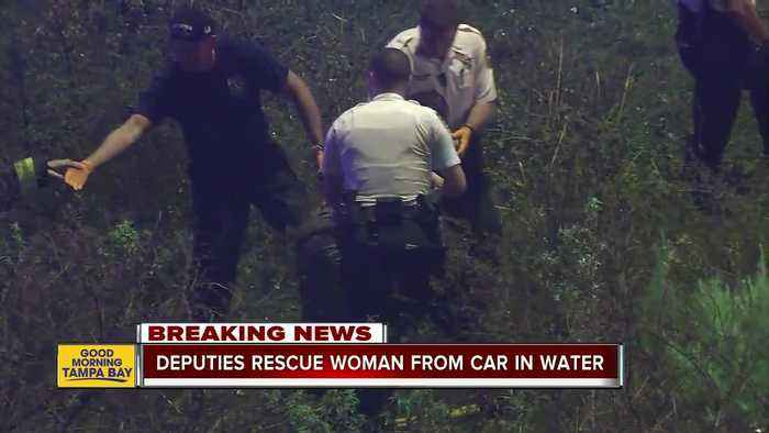 Deputies rescue woman trapped in car in water-filled ditch