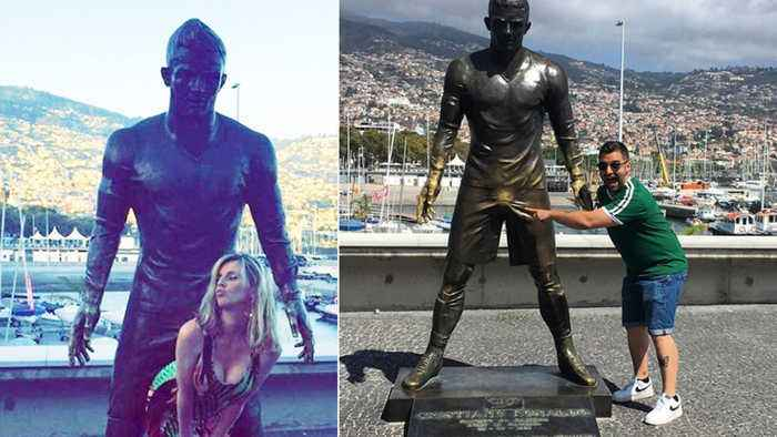 People Can't Keep Their Hands Off Cristiano Ronaldo's Giant CROTCH Statue!