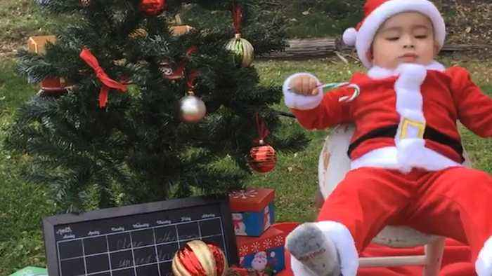 Toddler Dressed as Santa Falls from Stool During Christmas Photoshoot