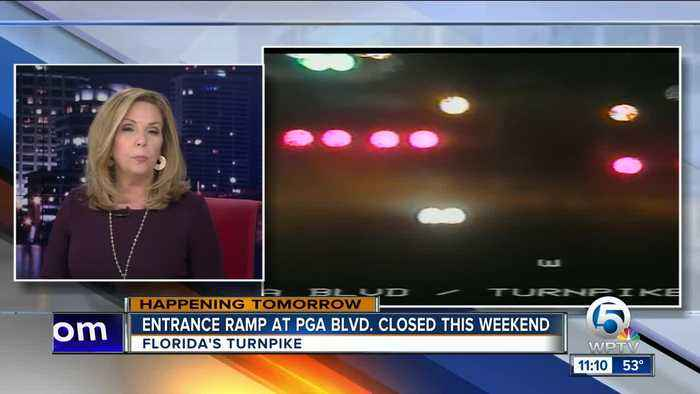 Florida Turnpike's entrance ramp at PGA Blvd. closed this weekend