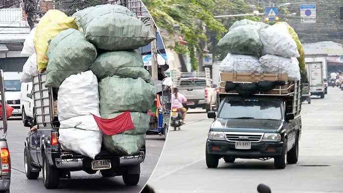 Pick-Up Truck Overloaded With Rubbish