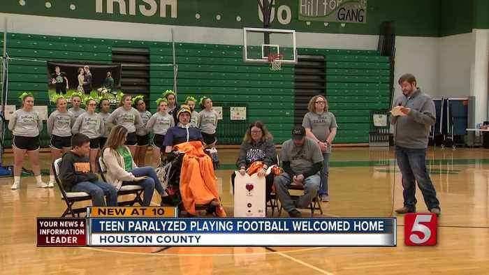 Homecoming held for teen paralyzed in football injury
