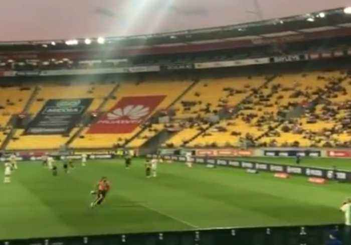 Shirtless Pitch Invader Goes for Goal During Wellington Phoenix A-League Game