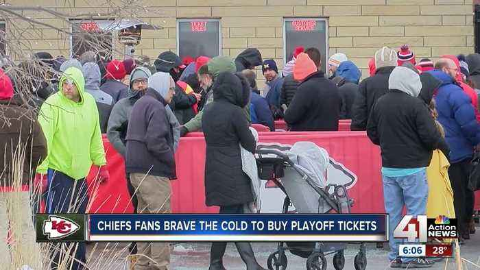 Chiefs fans camp outside Arrowhead Stadium to buy tickets