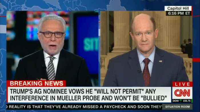 Coons: 'I Was Encouraged' That Bill Barr Said the Mueller Probe Is Not a Witch Hunt